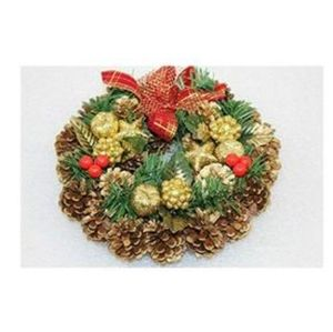 """11"""" HOLIDAY WREATH WITH PINE CONES AND RED BERRIES"""